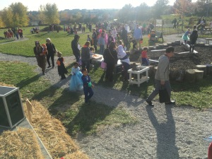 After the trunk or treat, children of all ages visit activities through out the outdoor classroom.